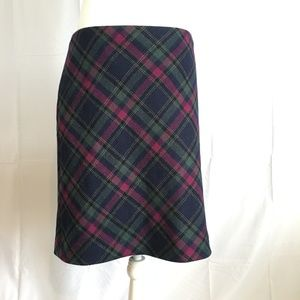 Talbots Skirts - Talbots Wool Blue and Magenta Tartan Skirt Size 6
